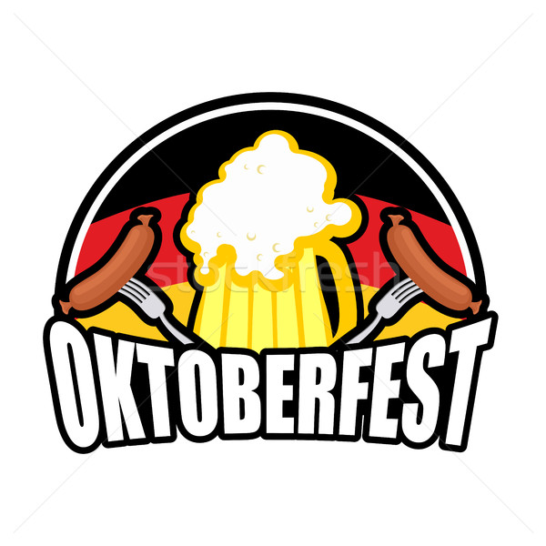 Foto stock: Oktoberfest · salchicha · cerveza · logo · emblema · vacaciones