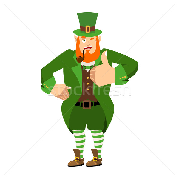 Leprechaun winks. Dwarf with red beard thumbs up. Happy St.Patri Stock photo © popaukropa