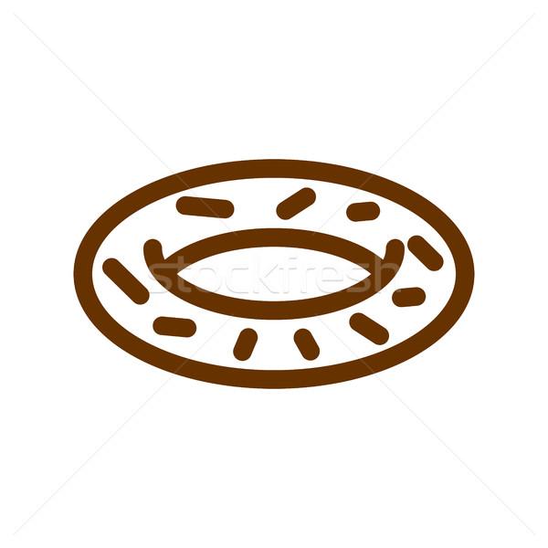 Pączek line ikona podpisania produkcji chleba Zdjęcia stock © popaukropa