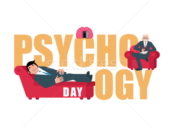 Psychology day. Consultation of psychotherapist. Postcard for ho Stock photo © popaukropa