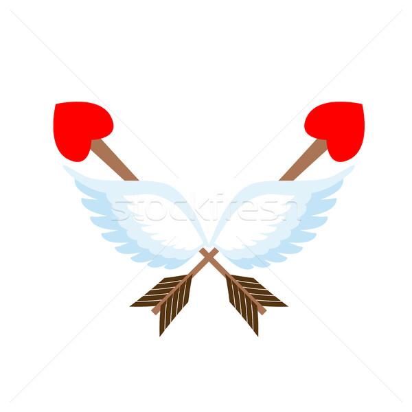 バレンタインデー エンブレム ロゴ 矢印 中心 翼 ストックフォト © popaukropa