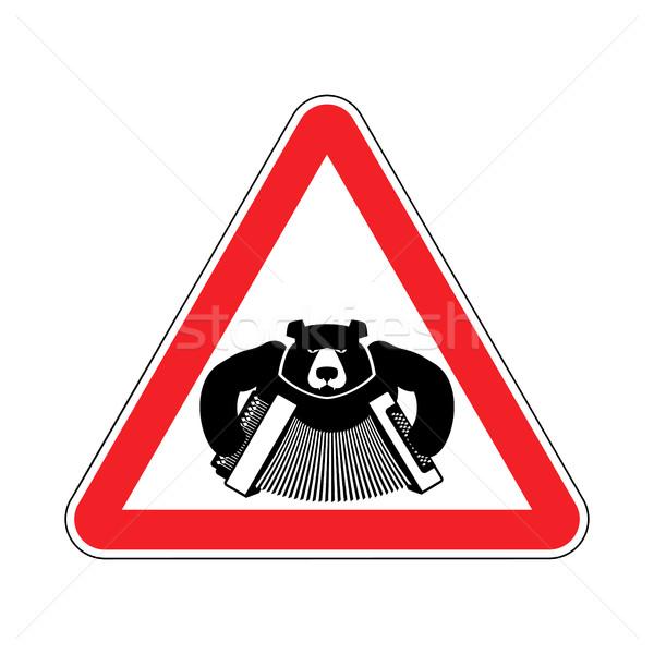 Waarschuwing beer accordeon Rood driehoek verkeersbord Stockfoto © popaukropa