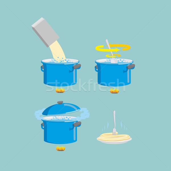 Főzés tészta ikon szett ikon gyűjtemény recept víz Stock fotó © popaukropa
