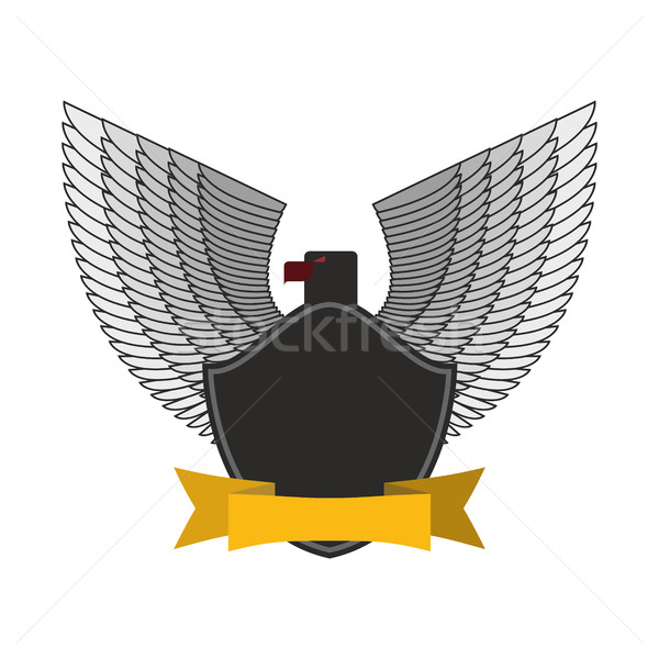 Black Eagle with white wings. Logo or emblem fo  soldiers. Yello Stock photo © popaukropa