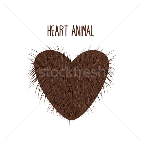 Hairy Heart animal. Sign heart shaggy Brown and fluffy. I love a Stock photo © popaukropa