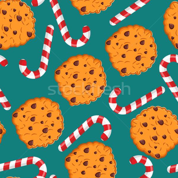 Menthe poivrée Noël bonbons cookies modèle sweet Photo stock © popaukropa