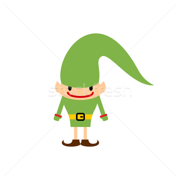 Christmas elf isolated. Santa Claus helper. Leprechaun in green  Stock photo © popaukropa