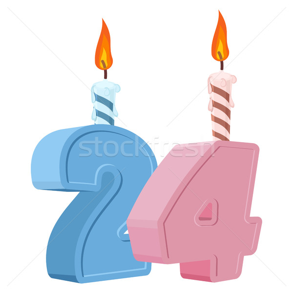 24 years birthday. Number with festive candle for holiday cake.  Stock photo © popaukropa