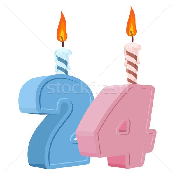 24 yıl doğum günü numara mum Stok fotoğraf © popaukropa