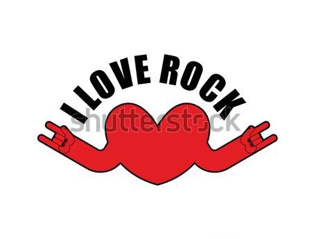 Cuore rock logo rotolare mano musicale Foto d'archivio © popaukropa