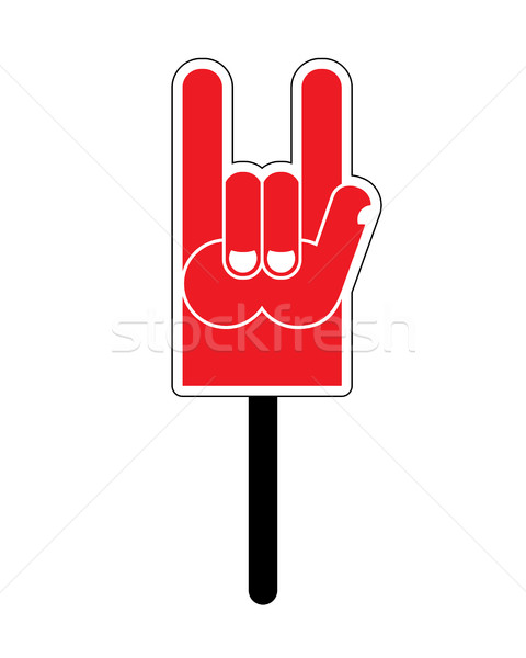 Foam Finger Rock Hand sign. Music fan accessory Stock photo © popaukropa