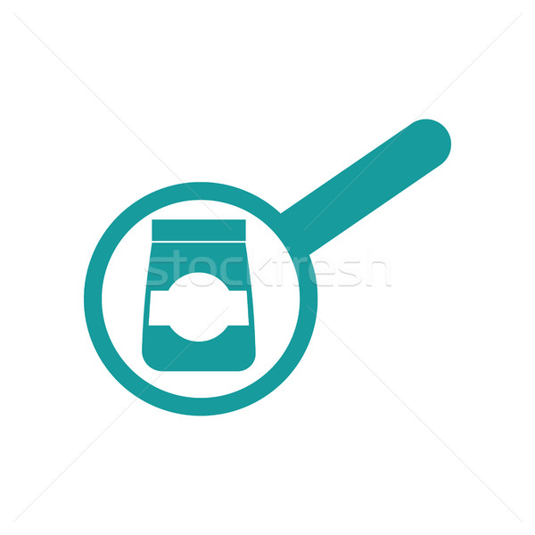 Goods Search sign. Magnifying glass and packaging. Business fina Stock photo © popaukropa
