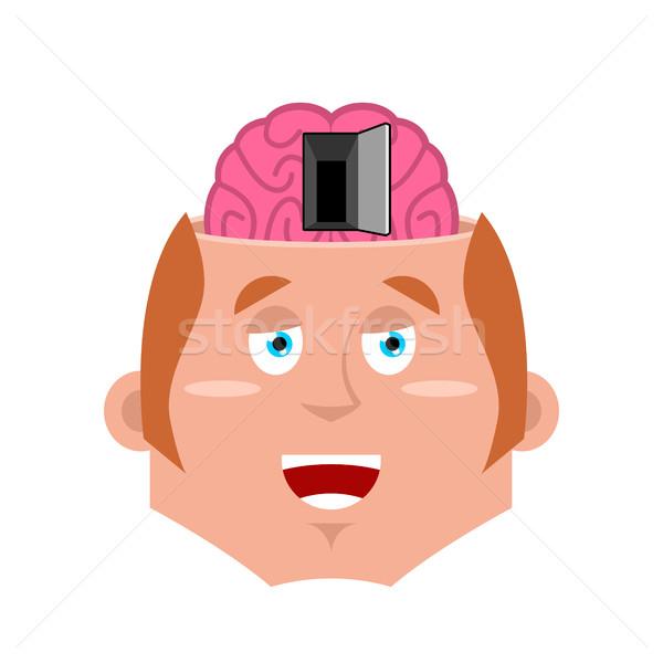 Homem abrir a porta cérebro psicologia ilustração cara Foto stock © popaukropa