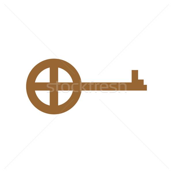 Oude sleutel geïsoleerd oude deur witte Stockfoto © popaukropa