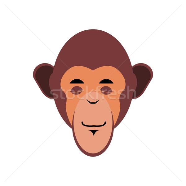 Monkey Sleeping Emoji. marmoset asleep emotion isolated. Chimpan Stock photo © popaukropa