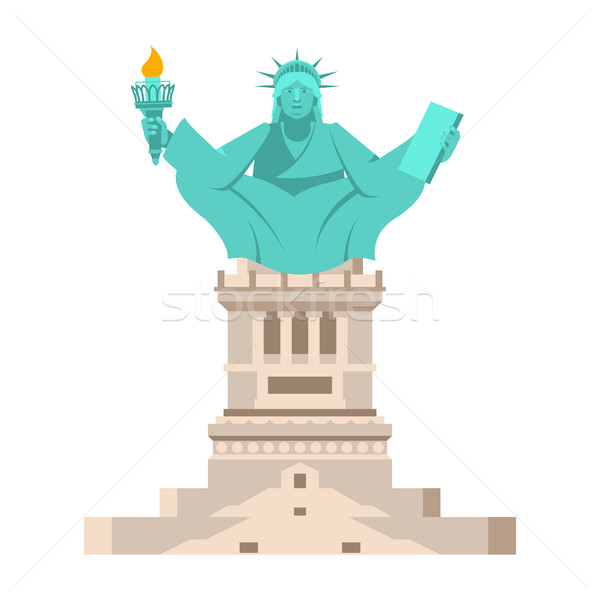 America Yoga. Statue of Liberty in lotus posture. Relaxation and Stock photo © popaukropa