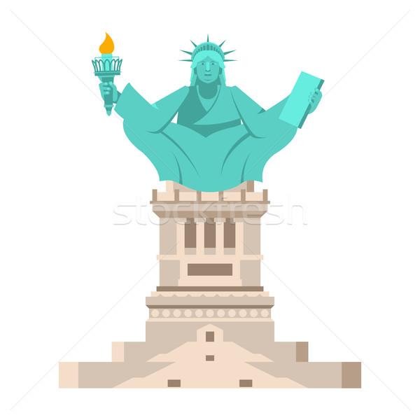Америки йога статуя свободы Lotus Сток-фото © popaukropa