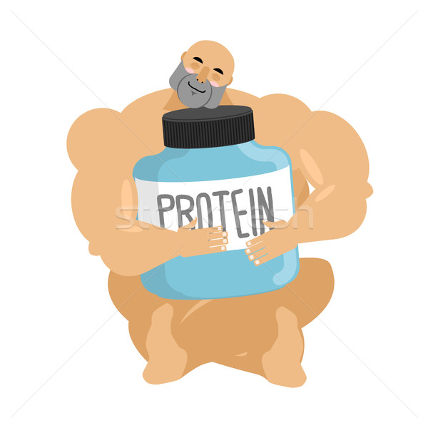 Bodybuilder and protein container. Athlete and sports nutrition  Stock photo © popaukropa