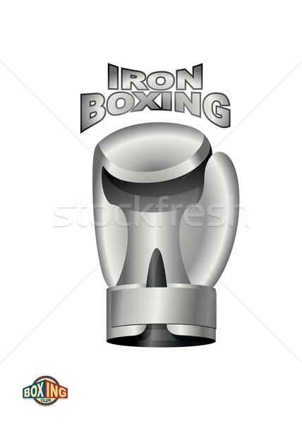 железной боксерская перчатка логотип бокса клуба металл Сток-фото © popaukropa