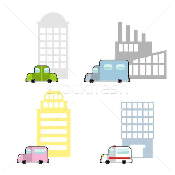 Transport and public buildings set cartoon style. Skyscraper and Stock photo © popaukropa