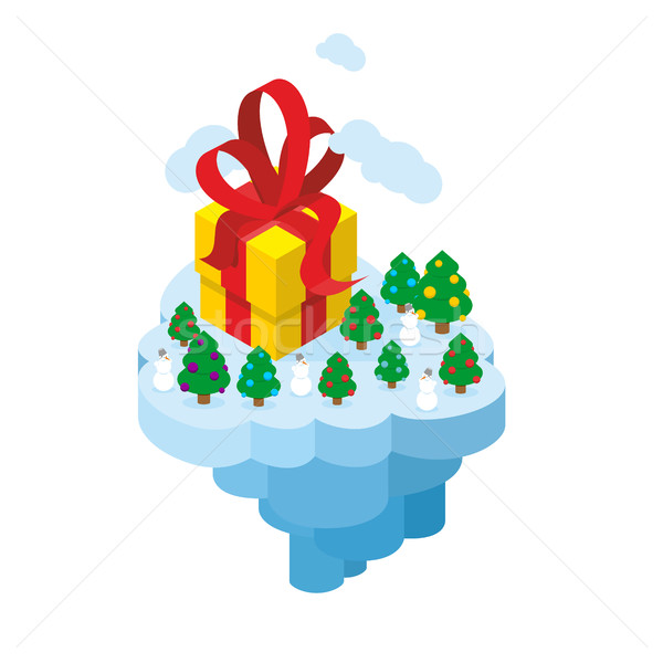 Flying Christmas Island. Gift and Christmas tree for fantastic e Stock photo © popaukropa