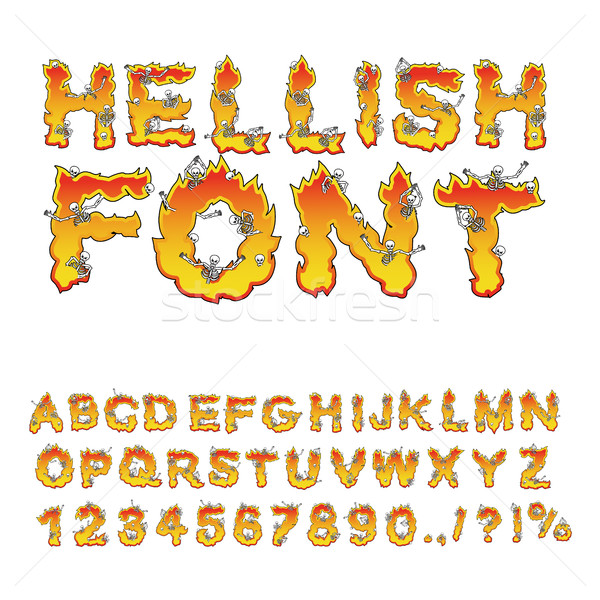 hellish font. inferno ABC. Fire letters. Sinners in hellfire.  H Stock photo © popaukropa