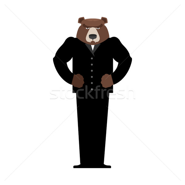 Bear Manager businessman in suit. Wild animal people. Forest pre Stock photo © popaukropa