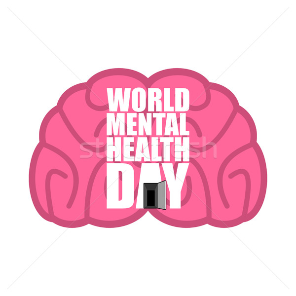 Stock photo: World Mental Health Day emblem. Symbol of human Brain. Grunge st