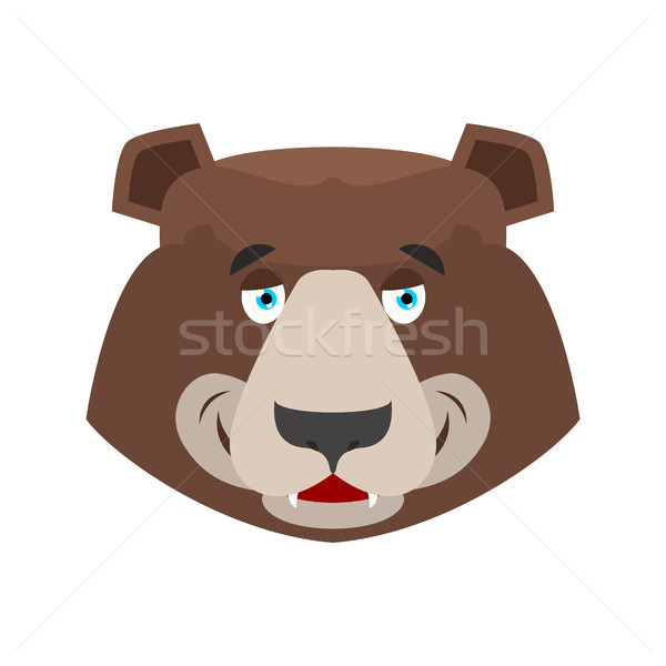 Bear happy Emoji. grizzly merry emotion. face Wild animal isolat Stock photo © popaukropa