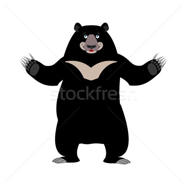 Himalayan bear happy emotion. Merry wild animal emoji. Black big Stock photo © popaukropa