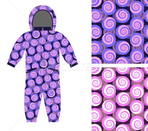 Kids Coverall of abstract spiral pattern. Set snail seamless bac Stock photo © popaukropa