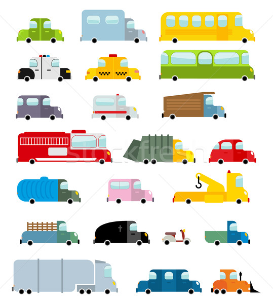 Car set cartoon style. Big transport icons collection. Ground se Stock photo © popaukropa