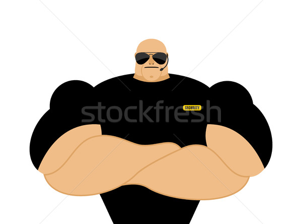 Stock photo: Security guard. Strong Athletic man in black clothes. Protection