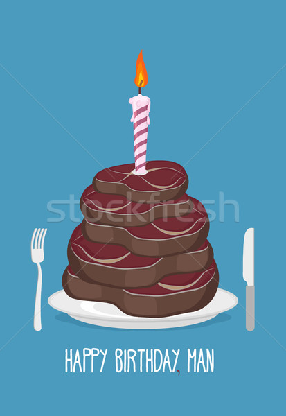 Cake cuts of meat. Happy birthday man. Delicious steaks. Congrat Stock photo © popaukropa