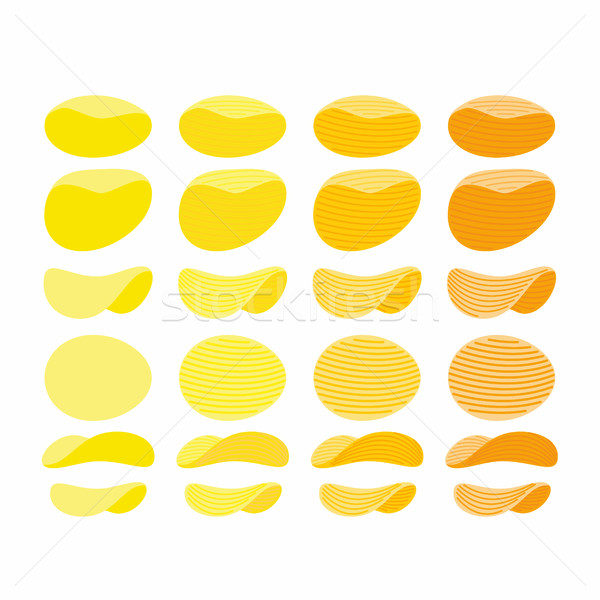 Set of potato chips. Golden, Orange and yellow wavy chips from d Stock photo © popaukropa