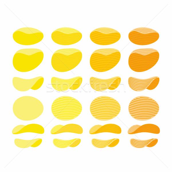 Conjunto batatas fritas dourado laranja amarelo ondulado Foto stock © popaukropa