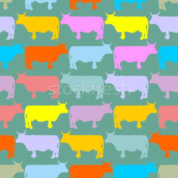 Photo stock: Vaches · troupeau · ornement · animaux · ferme