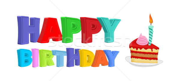 Happy birthday. Piece of festive cake with candle. Vector illust Stock photo © popaukropa