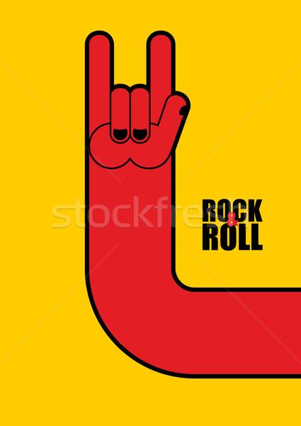 Hand rock rollen teken poster festival Stockfoto © popaukropa
