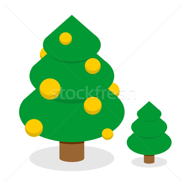 Christmas tree with gold balls. Decorated Holiday tree with Chri Stock photo © popaukropa