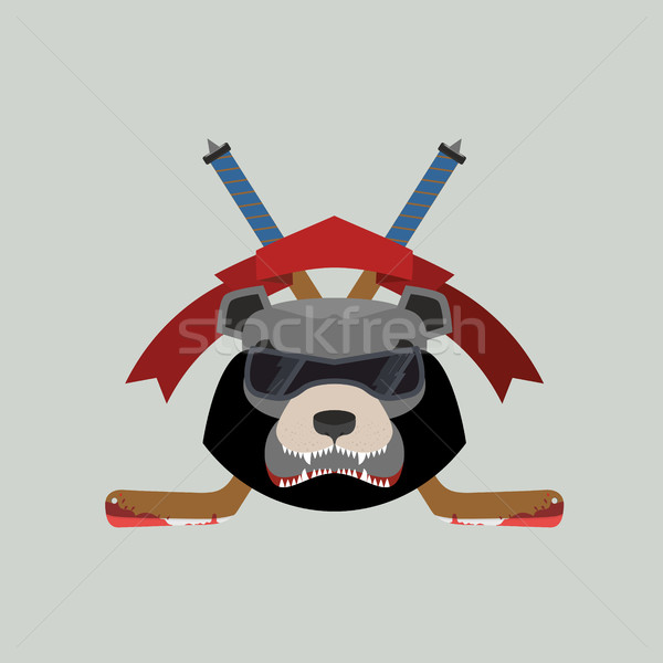 Bear Hockey Logo. Vector illustration Stock photo © popaukropa