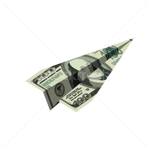 Aeronave dólares dinheiro avião de papel financeiro Foto stock © popaukropa
