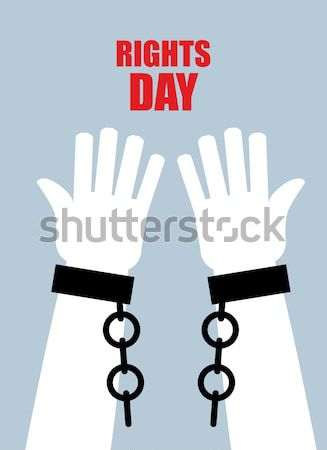 Freedom. Hands in shackles. Broken chain. Broken handcuffs. Palm Stock photo © popaukropa