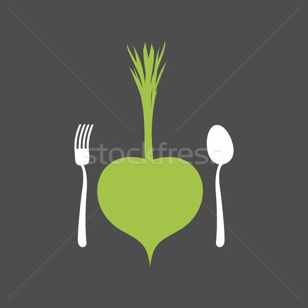 Vegetarian Food logo. Vegetable and cutlery. Fork and spoon and  Stock photo © popaukropa