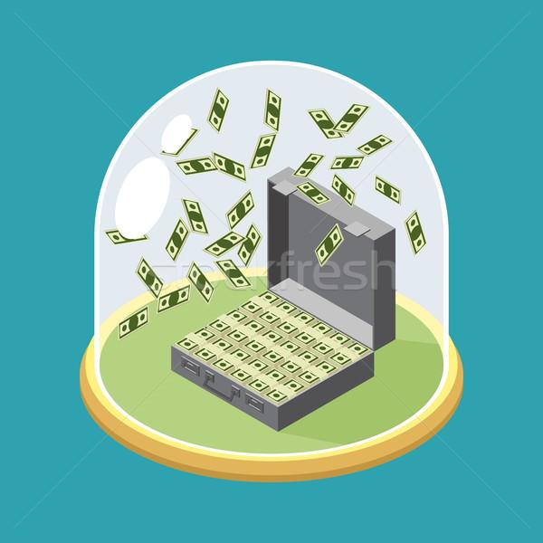 Bőrönd pénz üveg harang átlátszó kupola Stock fotó © popaukropa
