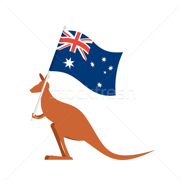 Kangaroos and Australian flag. wallaby for Australia Day emblem Stock photo © popaukropa