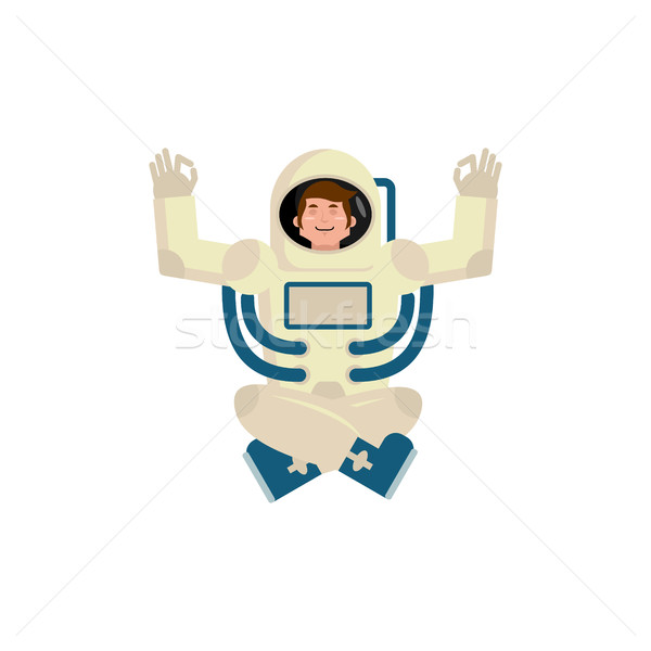 Astronaut ruimte yoga man zen ontspanning Stockfoto © popaukropa