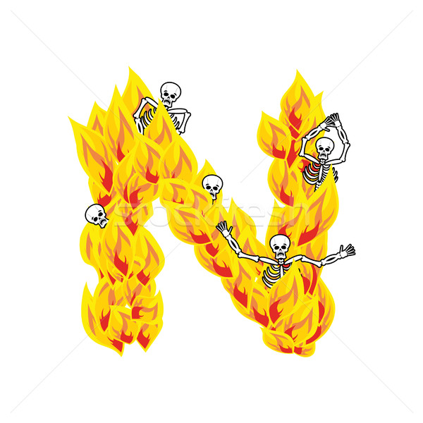 Letter N hellish flames and sinners font. Fiery lettering. Infer Stock photo © popaukropa