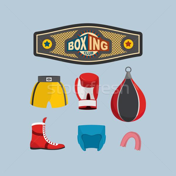 Set Boxing Icons. Boxing equipment. Stock photo © popaukropa