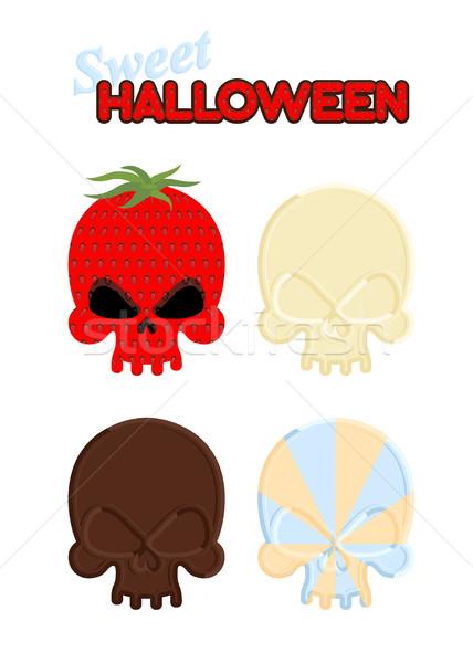 Dulce halloween establecer cráneo blanco chocolate oscuro Foto stock © popaukropa